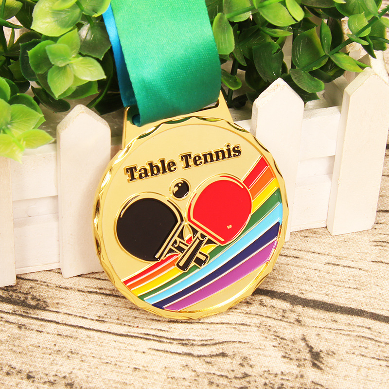 Zinc Alloy Table Tennis Medal Sports Competitions School Sports Medal Sports Gold Silver Bronze Medal Free Print