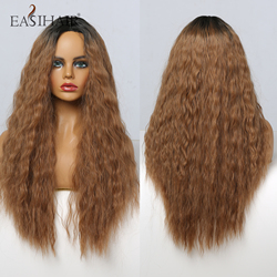 EASIHAIR Long Brown Ombre Synthetic Wigs for Women Deep Wave Wigs Natural Hair Heat Resistant Cosplay Wig High Density