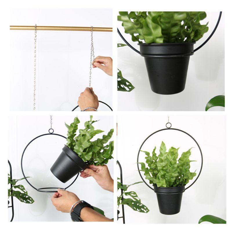 Металлическая Вешалка для растений, подвесная корзина, цветочный горшок, держатель для растений, садовый балкон