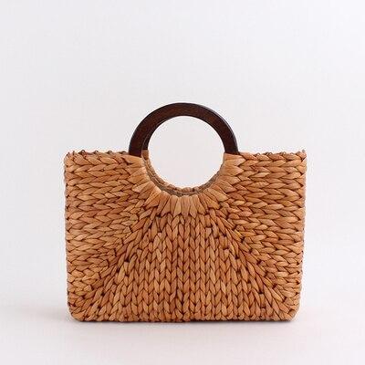 vintage wooden handle rattan women handbags wicker woven large capacity tote summer beach straw bag lady square bali big purse