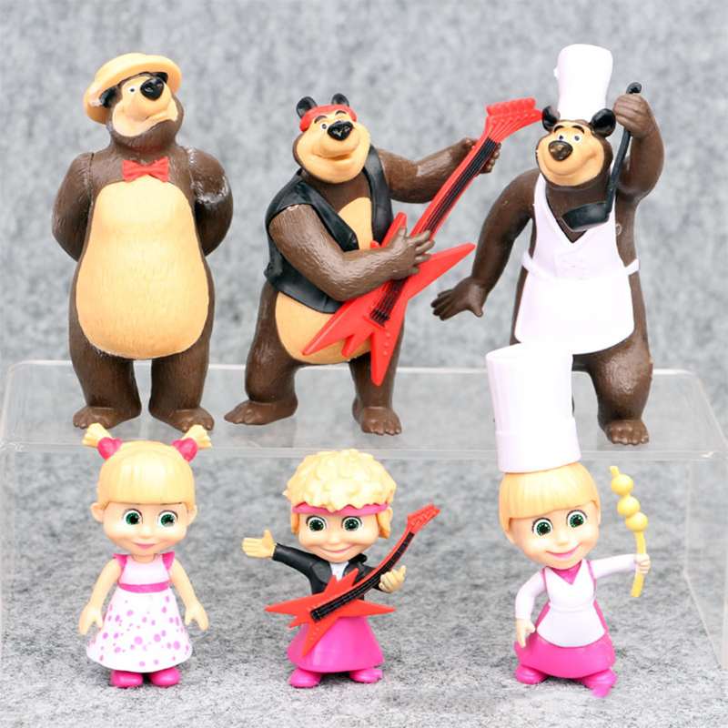 Russia Masha and Bear Toy 6pcs Figure Doll Cake Ornament Masse Toy Bear Masshe Action Figure Creative Bear Dolls Kids Home Decor