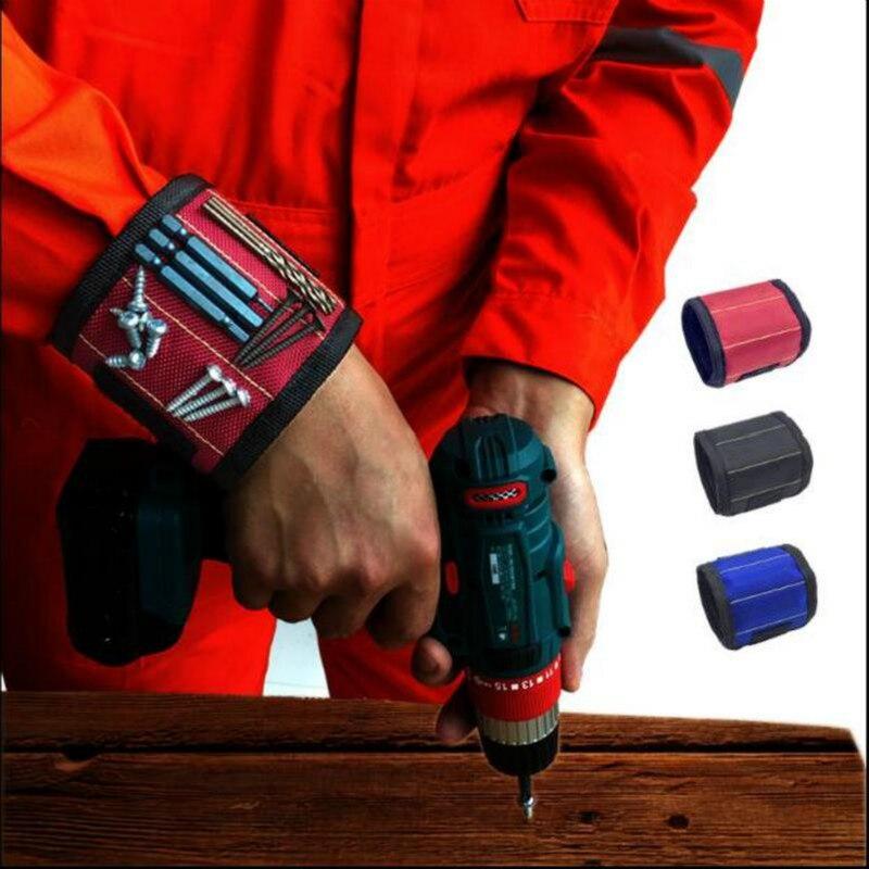 Bracelet magnétique sac à outils Portable avec 3 aimants électricien poignet outil ceinture vis clous forets Bracelet pour outil de réparation