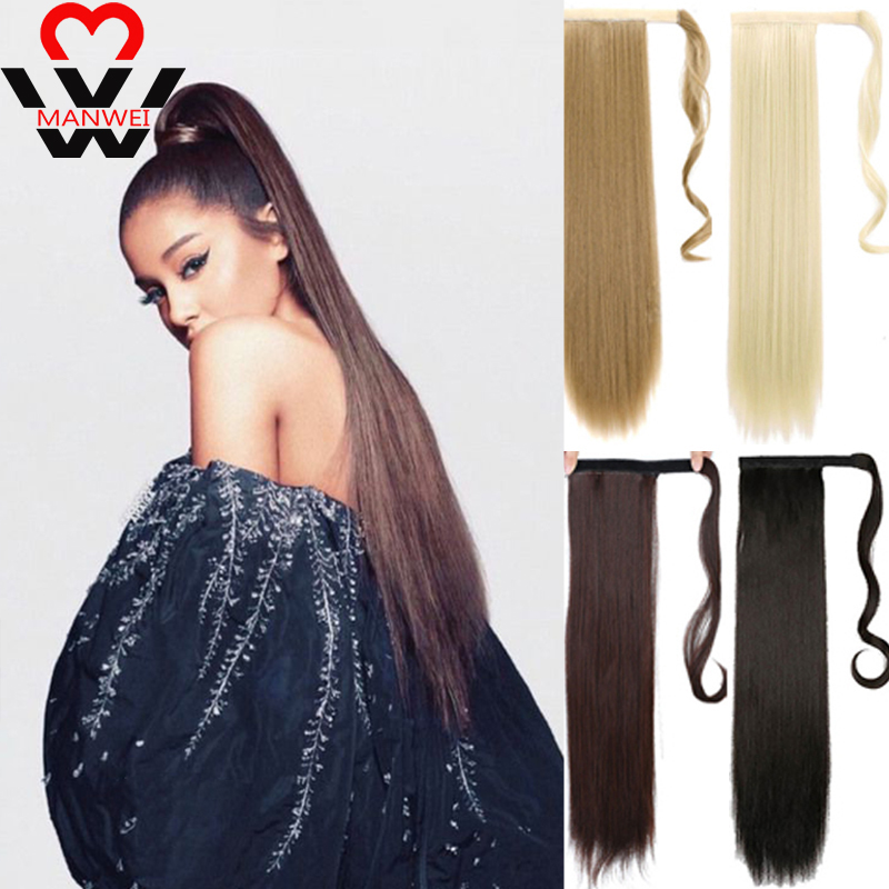 MANWEI 24inch Long Straight Hair Extension Synthetic Ponytail Hair Extensions With Black Blonde Brown Colors For Women