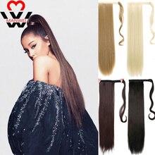 MANWEI 24-дюймовый длинные прямые наращивание волос расширения синтетические хвост с черными блондинки-коричневого цвета для женщин