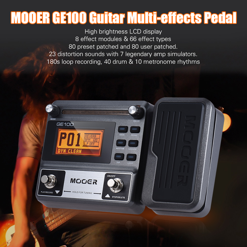 MOOER GE100 Guitar Multi-effects Processor Effect Pedal with Loop Recording Tuning Tap Tempo Rhythm Setting Scale & Chord Lesson