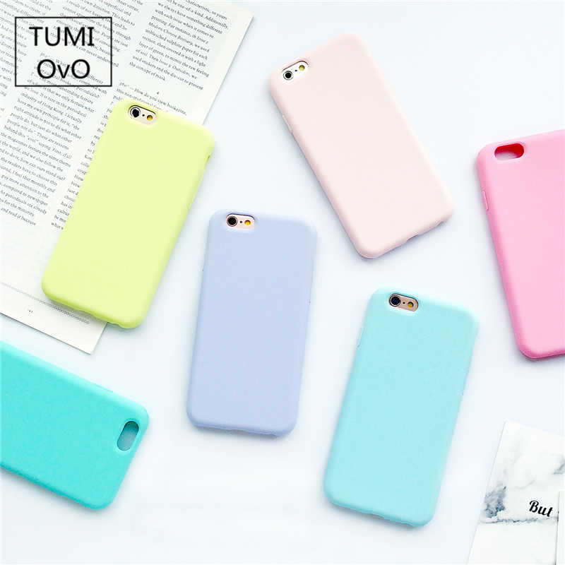 Custodia opaca glassata in Silicone TPU Color caramella Macarons per iPhone 6 6S 5 5s SE 8 Plus X 10 Cover posteriore morbida per iPhone 7 7Plus