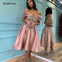 Розовые вечерние платья smileven с открытыми плечами и блестками