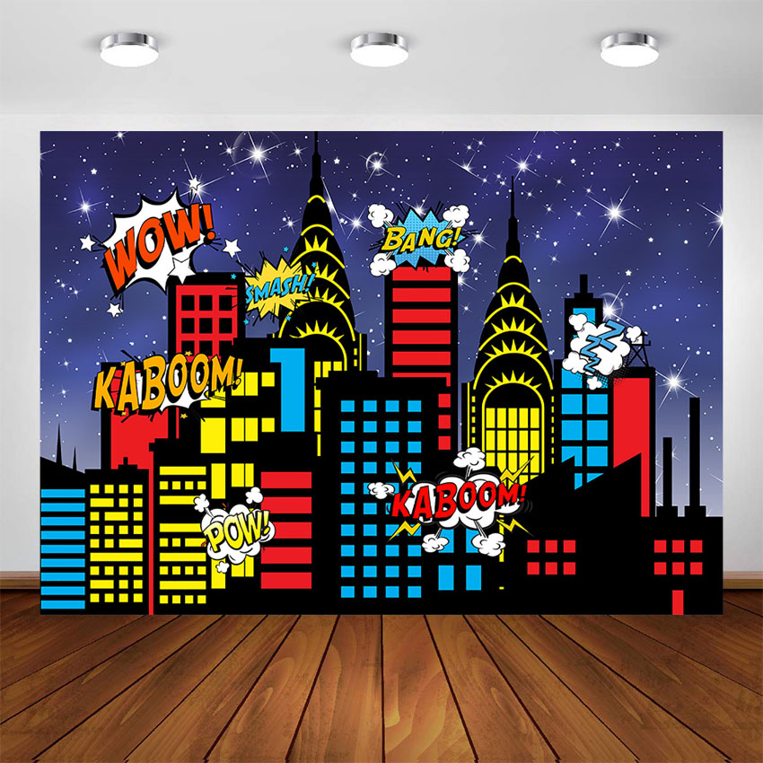 Superhero City Photography Backdrops Skyline Buildings Boom Photo Studio Booth Background Birthday Party Banner Cake Table Decor