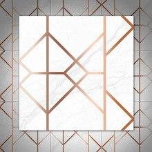 Metal Texture Gold Line Geometric Pattern Tile Stickers Bathroom Waist Waterproof Wear-Resistant Floor