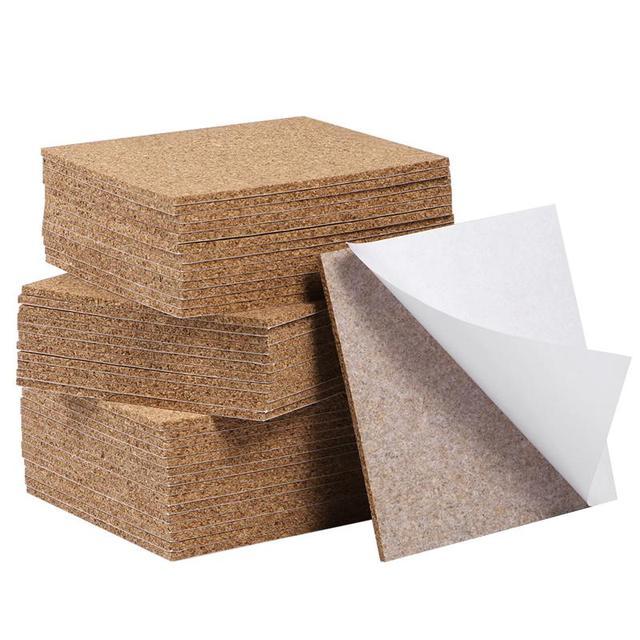 80pcs 95x95mm Self Adhesive Square Cork Sheets for DIY Coasters Cork Tiles Cork Mat