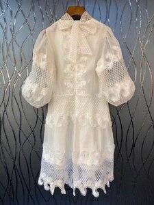 Новое поступление 2020, весенне-летние вечерние платья белого и темно-синего цвета, женские кружевные платья со стоячим вырезом и вышивкой Festa
