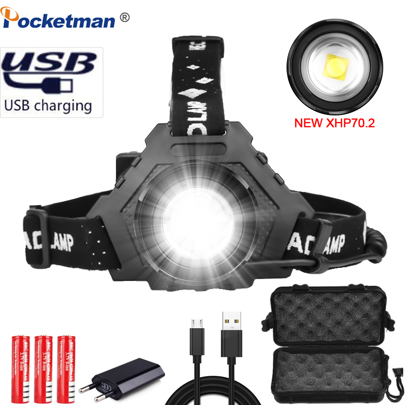 8000LM XHP70.2 USB Rechargeable Led Headlamp XHP70 Super Bright Headlight XHP50 Hunting Cycling Fishing Lanterna Use 3x18650