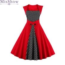 In Stock Cheap Dress Women Fashion Dot 2019 Vintage Casual Elegant Print Party Dress Red Black Plus size 3XL 4XL Free Shipping free shipping 5pcs 0 35mm bd82hm55 chip size steel mesh in stock