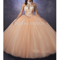 2020 New Arrival Halter Neckline Beading Crystal Illusion Appliques Lace Top Puffy Tulle Quinceanera Dresses Corset Ball Gown