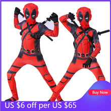 Boys Girls Deadpool Costume Cosplay Spiderman Superhero Costumes Mask Suit Jumpsuit Bodysuit Halloween Party Costume for Kids
