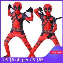 Jungen Mädchen Deadpool Kostüm Cosplay Spiderman Superhero Kostüme Maske Anzug Overall Body Halloween Party Kostüm für Kinder