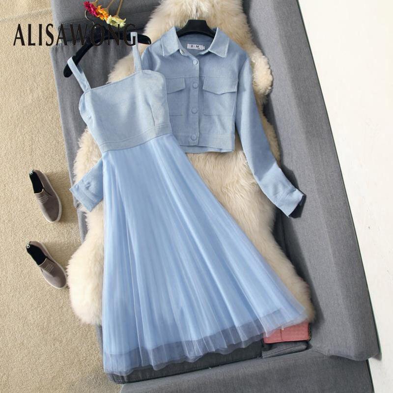 Spring Autumn New Fashion Dress Suits 2020 Elegant Women Long Sleeve Coat+mesh Patchwork Dress Woman Blue Slim Two Piece Sets