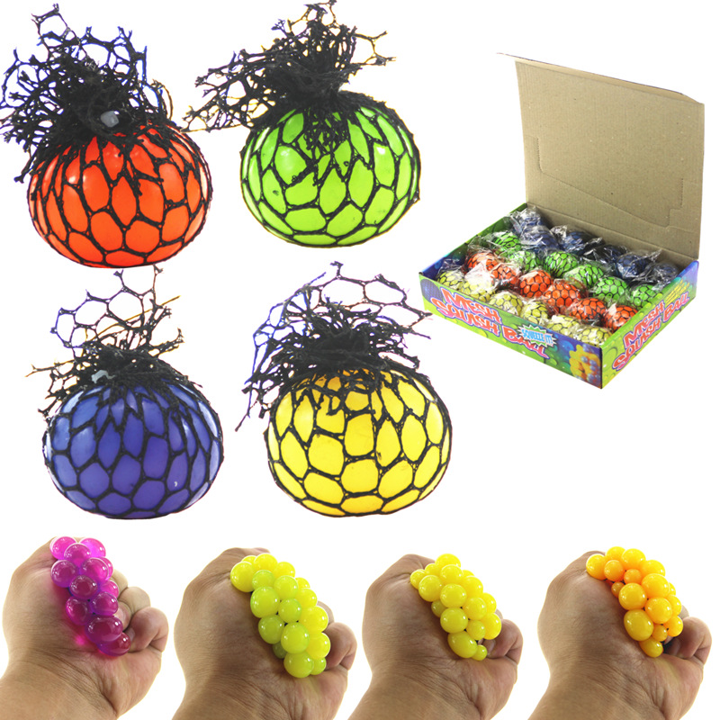 1 Pcs Funny Anti-Stress Squishy Ball Grape Squeeze Discolor Mood Autism Kids&Adult Play Vent Toys For Gift