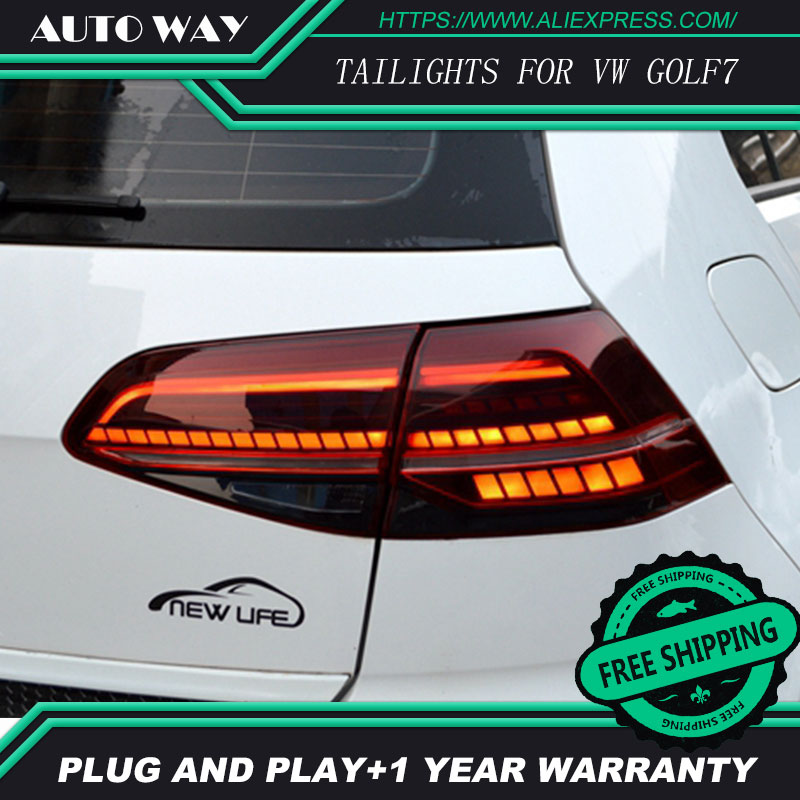 Car Styling case for Volkswagen VW <font><b>Golf</b></font> <font><b>7</b></font> MK7 Golf7 Golf7.5 MK7.5 taillights TAIL <font><b>Lights</b></font> All <font><b>LED</b></font> Rear Lamp dynamic turn signal image