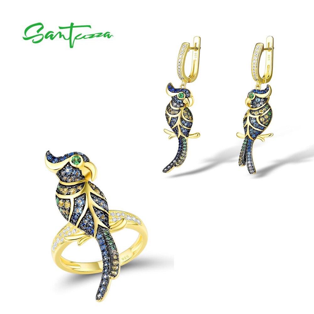 Conjunto de anillo y pendientes delicado de moda SANTUZZA, conjunto de joyería de plata 925 auténtico para mujer, piedras azules brillantes, bonitos pájaros SANTUZZA, conjunto de joyería de mariposa roja para mujer, anillo blanco CZ, pendientes, colgante de Plata de Ley 925, joyería de moda hecha a mano, esmalte