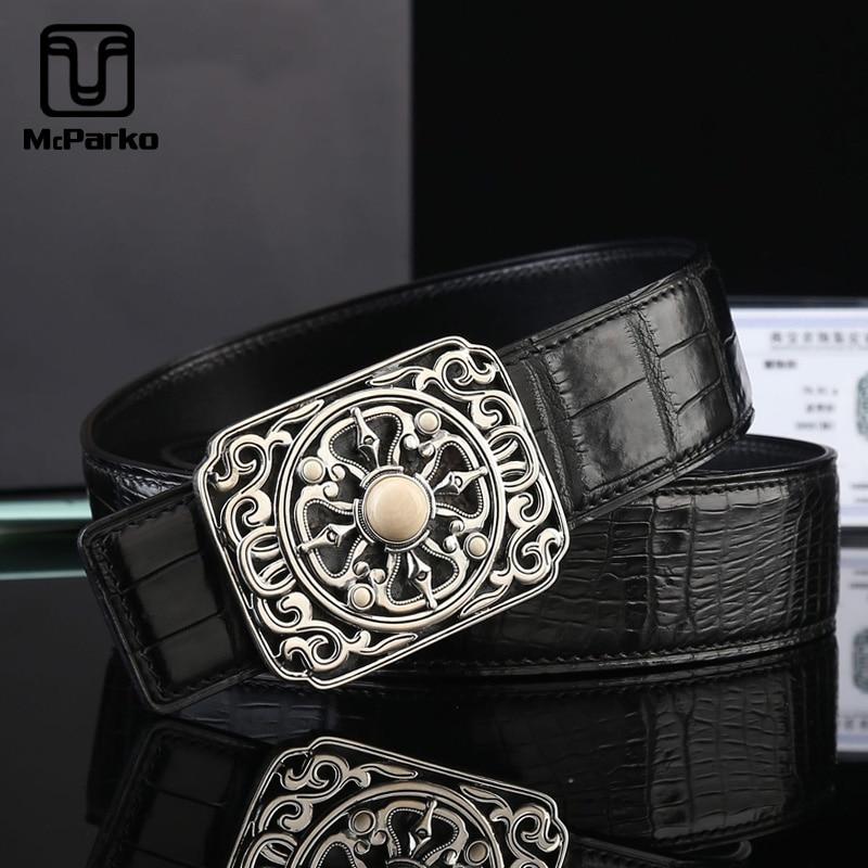 McParko S925 argent boucle Crocodile ceinture de luxe en cuir véritable ceinture hommes Vintage Design hommes attente ceintures noir pantalon sangles