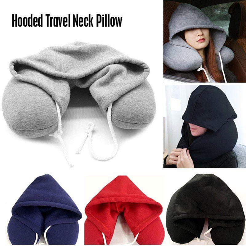 Soft Comfortable Hooded Neck Travel Pillow U Shape Airplane Pillow with Hoodie image
