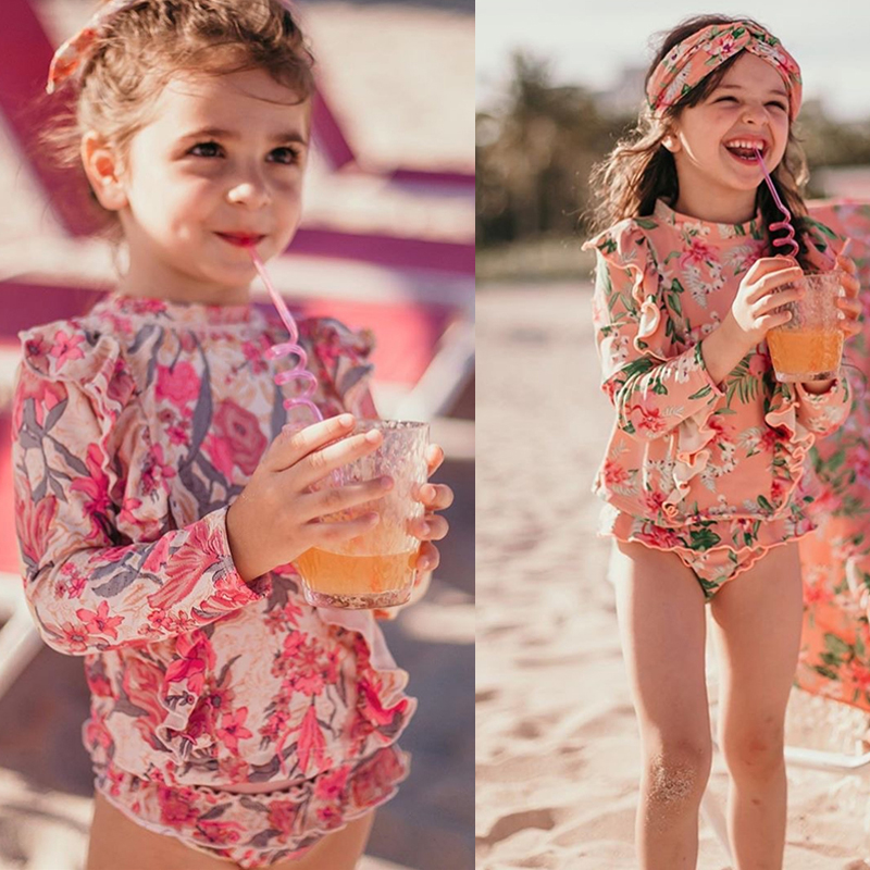 Cute Flowers Printed Bikini Toddler Kids Swimwear Swimsuit Baby Girls One Piece 2020 Summer Bathing Suit Children Beachwear
