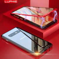 Pour Samsung Galaxy S10 S9 Plus 360 Protection complète boîtier d'adsorption magnétique avant et arrière verre trempé couverture plein écran