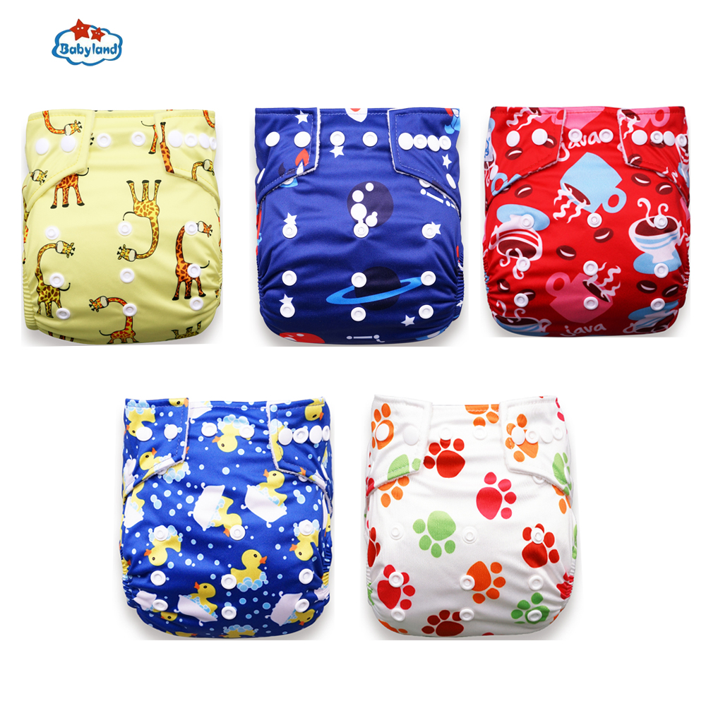 Babyland 2020 New Baby Diapers 5pcs/Set Cloth Nappy Girl Boy Prints Pocket Diaper For 0-2 Years 3-15KG Baby Day Night Diapers