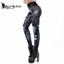 [You're My Secret] Steampunk Women Workout Leggings Mechanical Slim Fitness Leggins Ankle-Pants Gear 3D Printing Elastic Legins