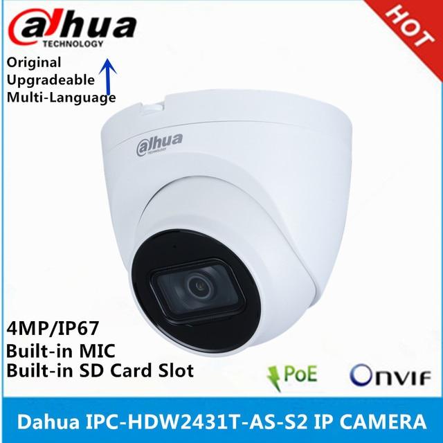 Dahua IPC HDW2431T AS S2 4MP POE dahili MiC SD kart yuvası IR 30M yıldız kamera ve IPC HDW4433C A 4MP dahili mikrofon IP kamera