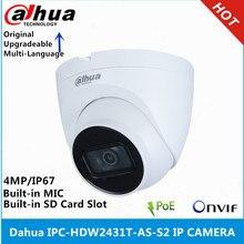 Dahua IPC HDW2431T AS S2 4mp poe construído em mic & sd slot para cartão ir 30m câmera luz das estrelas & IPC HDW4433C A 4mp câmera ip microfone embutido
