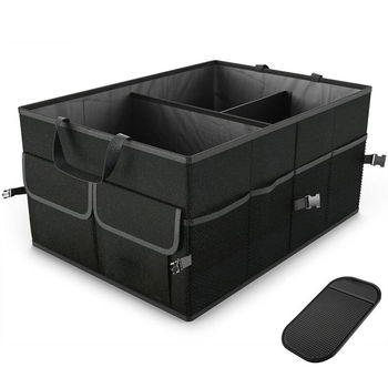 Newest Black Cargo Organizer Folding Caddy Storage Collapse Bag Bin for Car Truck SUV Useful Storage Box image