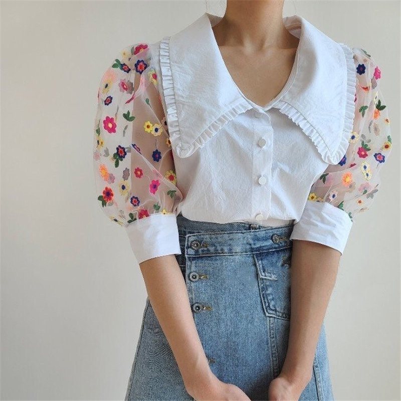 Alien Kitty 2020 Retro Patchwork Loose Puff Sleeve Sweet Thin Hot Peter Pan Collar Vintage Women Mesh Embroidery Daisy Shirts