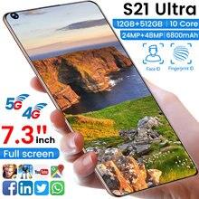 Versão global 7.3 polegada s21utra smartphones tela cheia 8g 256gb 24mp + 48mp desbloqueado android10 duplo sim deca núcleo do telefone móvel