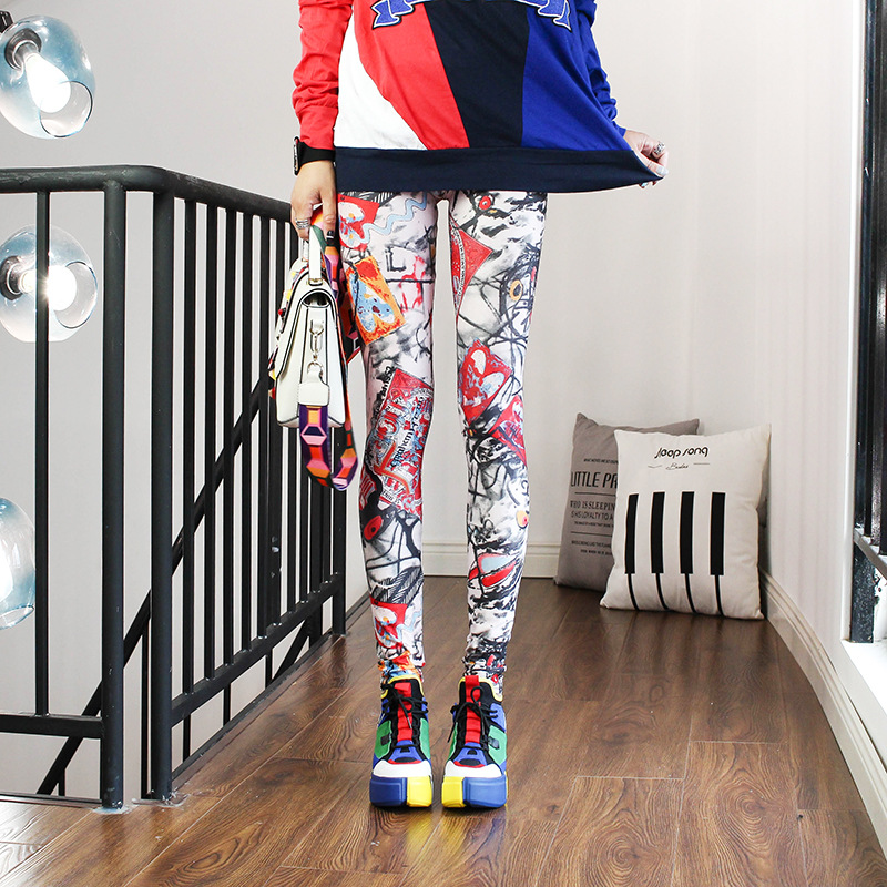 Leggings Women Wear Spring And Autumn Color Yoga Graffiti Pencil Pants Printed Trousers Plus Size Nine Pants Women