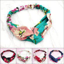 New women flower prints headband elastic silk hairband crosses ladies hair bands headwear accessories
