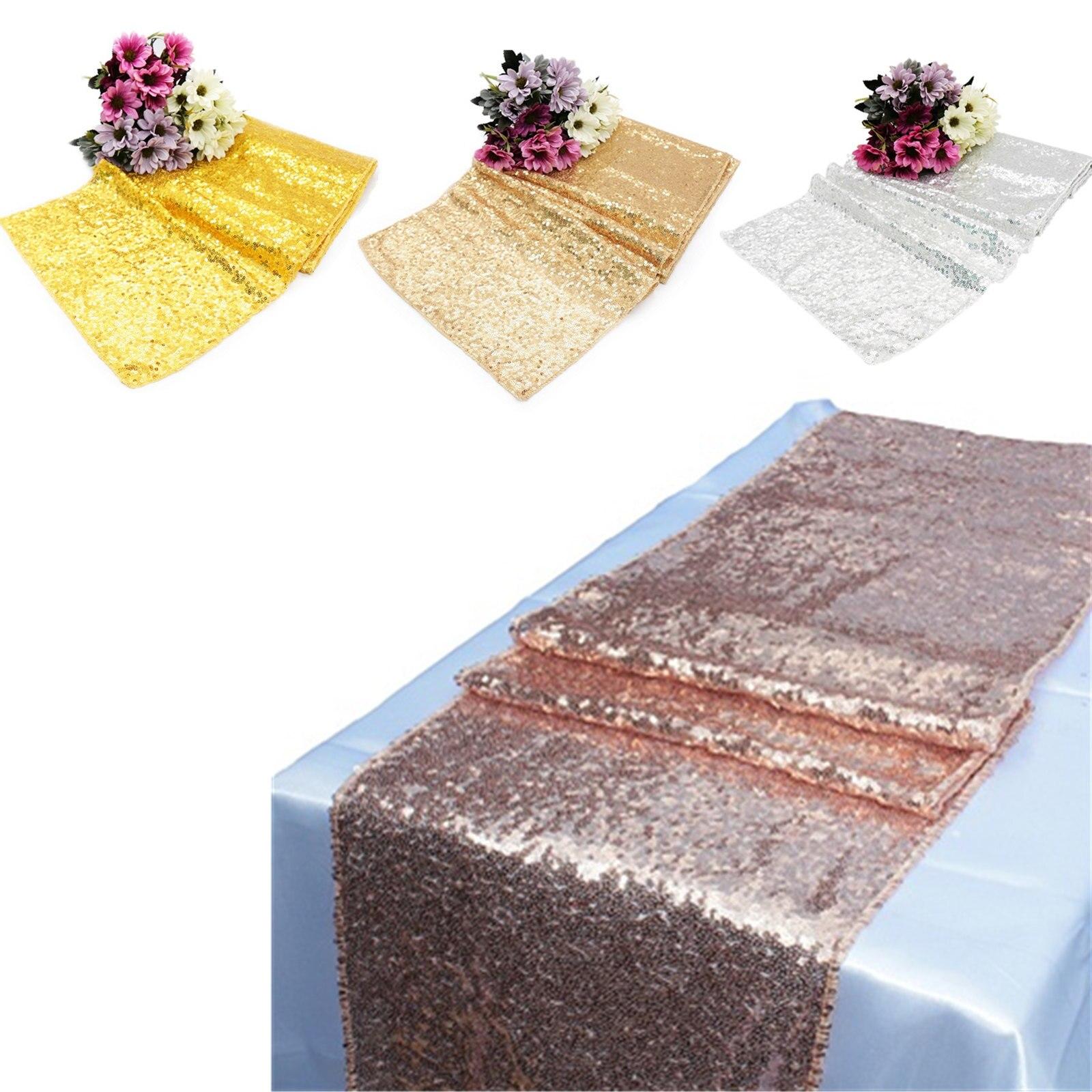 1 Uds. Camino de mesa de lentejuelas 30x275cm 30x180cm dorado rosa dorado para mesa de fiesta mantel bodas decoración caminos de Mesa para el hogar