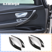 Car interior door handle trim door handle cover carbon fiber for bmw 3 4 series f30 f32 f34 protection film sticker door handle 2 pcs car styling interior copilot glove box handle decoration cover trim stainless steel stickers for bmw 3 series f30 f34 lhd