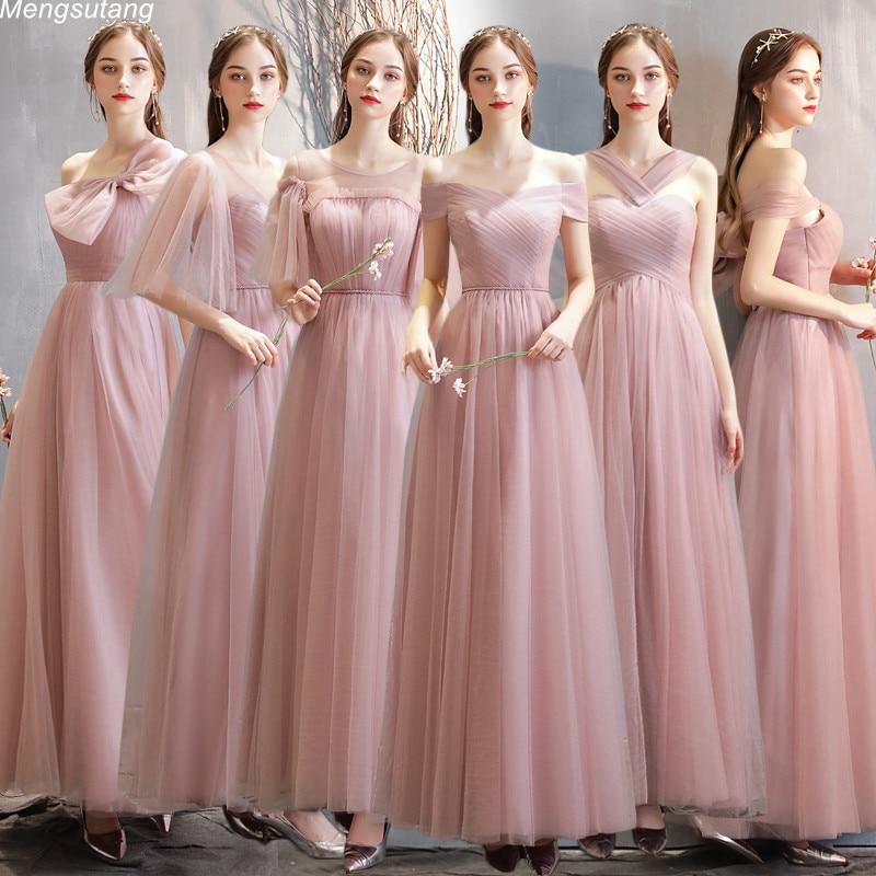 Robe De Soiree Dusty Pink Simple Gown   Bridesmaid     Dresses   Long Elegant Mismatched Wedding Vestido Longo Formal Party Prom   Dress