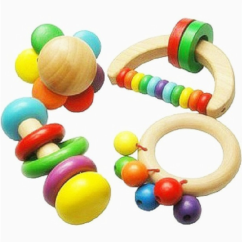 4pcs/set Toys Manual Home Hanging Portable Durable Colorful Tools Wooden Play Baby Rattle