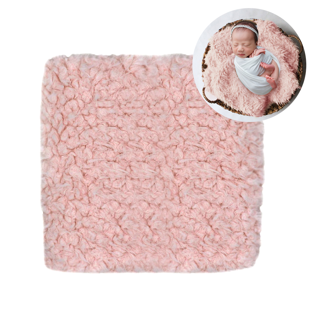 Baby Blanket Warm Wrap Unisex Newborn Rug Mat Faux Fur Stuffer Solid Backdrop Square Soft Photography Props