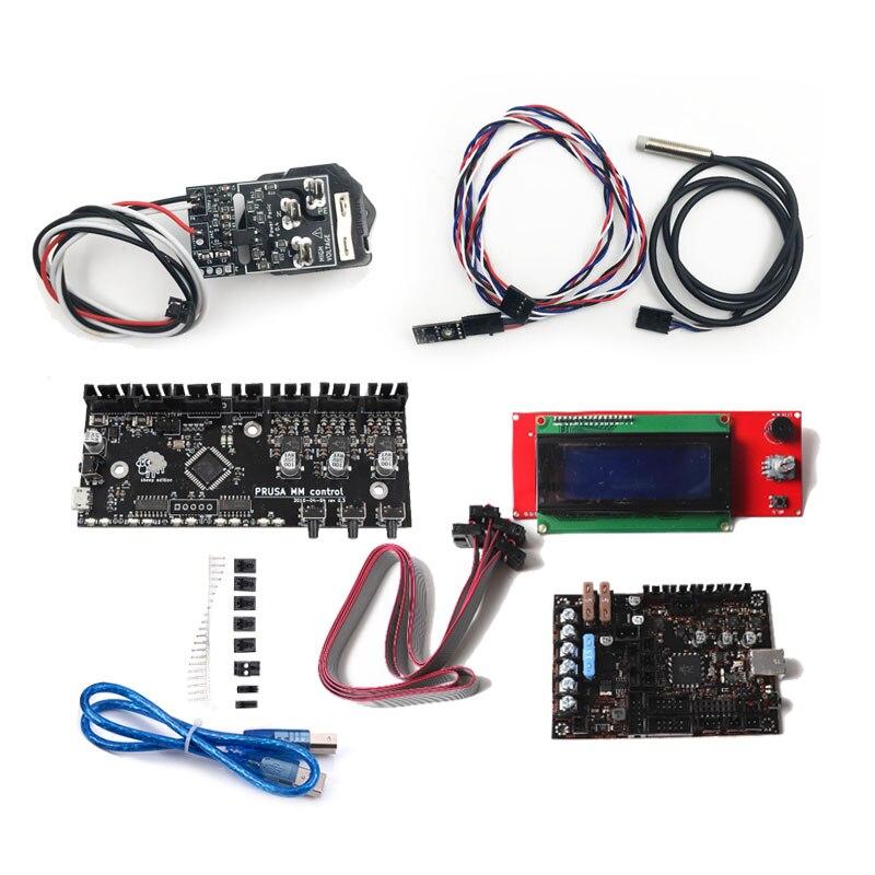 Бесплатная доставка EinsyRambo 1.1a материнская плата набор проводов 2004 LCD Power Panic + Датчик накаливания + MMU2 + PINDA V2 датчик для Prusa i3 MK3