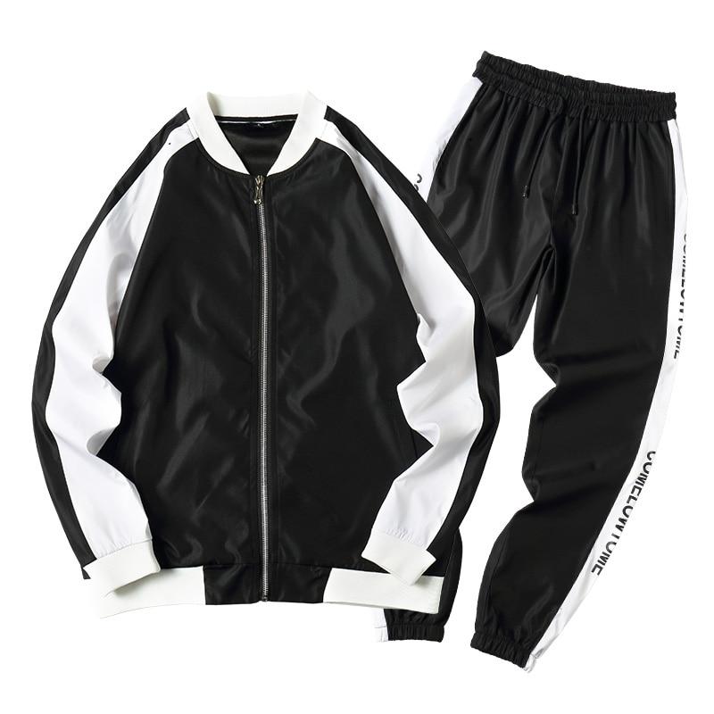 Spring New Men Casual Sets Zipper Patchwork Tracksuits 2020 Mens Hip Hop Streetwear Sporting Suit Male Jacket+Pants Loose Sets