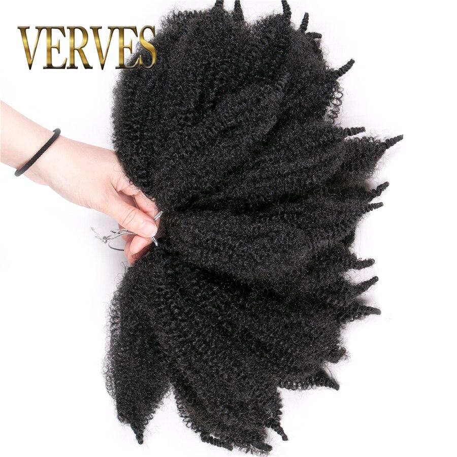 VERVES Synthetic Crochet Hair curly Extension 8 inch,ombre braiding hair Afro kinky bulk twist braids Black Blond bundles
