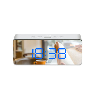 LED Mirror Alarm Clock Digital Snooze Table Clock Wake Up Light Electronic Large Time Temperature Display Home Decoration Clock 10