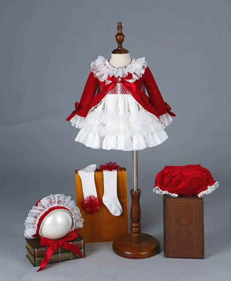 4 предмета, красное бархатное осенне-зимнее винтажное испанское платье помпон, платье принцессы Лолита, рождественское праздничное платье для девочек