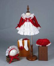 4PCS Girl Autumn Winter Spring Red Velvet Vintage Spanish Princess Lolita Pompom Ball Christmas Birthday Wedding Party Dress