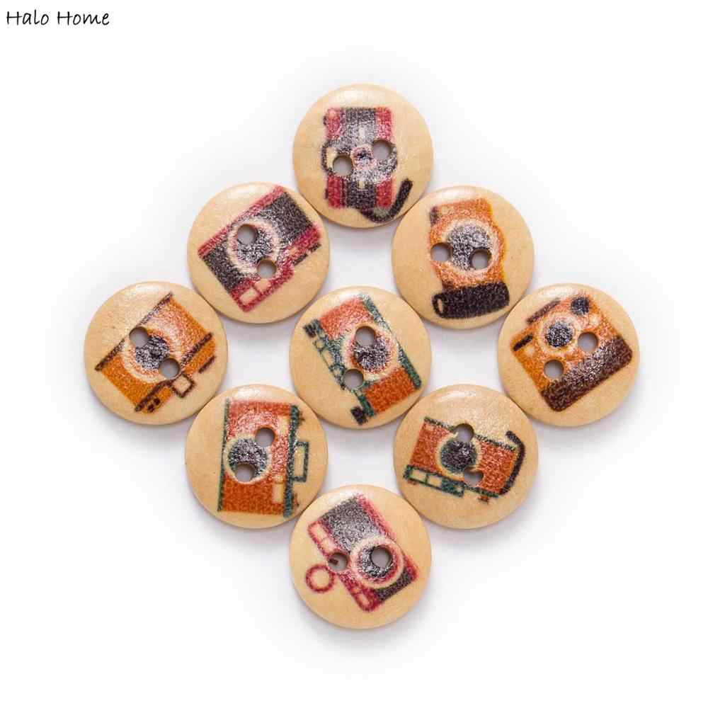 50pcs Multicolor Printing Wooden Buttons Sewing Scrapbooking Crafts Decor 15mm