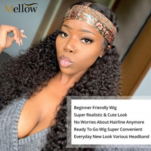 Kinky Curly Headband Wig Human Hair Brazilian Machine Made Human Hair Wigs Glueless Natural Color Hair Wigs for Woman tanie tanio Mellow Medium Straight Lace Front wigs CN(Origin) Remy Hair Half Machine Made Half Hand Tied Darker Color Only Swiss Lace